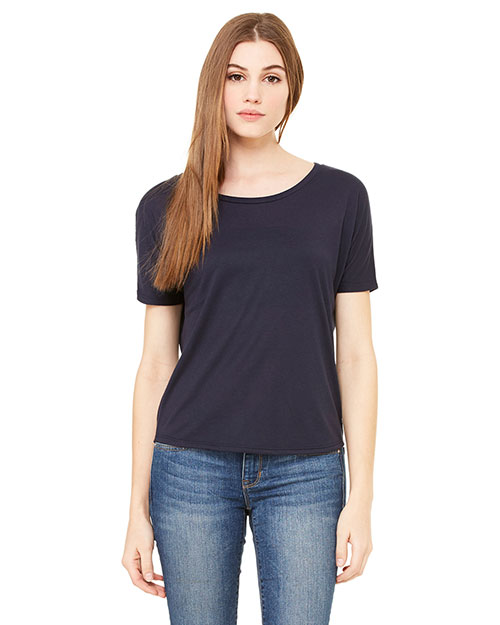 Bella + Canvas B8871 Women Flowy Open Back TShirt Midnight at GotApparel