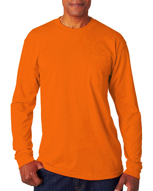 Bayside 1730 Men LongSleeve Tee with Pocket Bright Orange at GotApparel