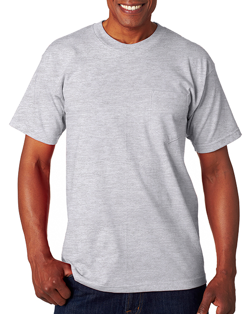 Bayside 7100 Men ShortSleeve Tee with Pocket Ash at GotApparel