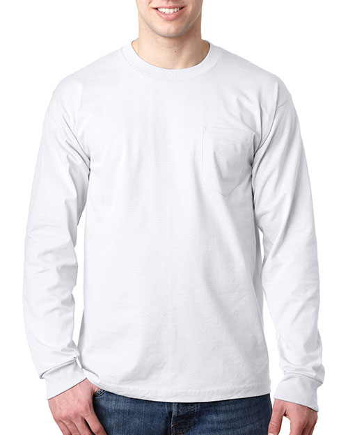 Bayside 8100 Men LongSleeve Tee with Pocket White at GotApparel
