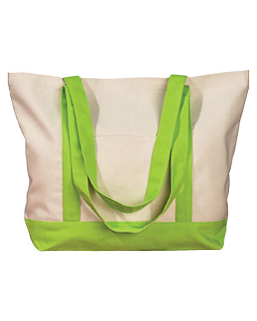 Big Accessories / BAGedge BE004 Unisex 12 oz. Canvas Boat Tote Natural/Lime at GotApparel