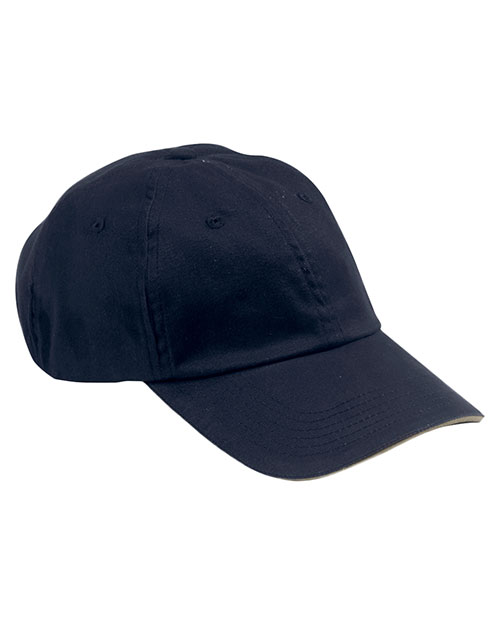 Big Accessories / BAGedge BX001S Unisex 6-Panel Unstructured Cap with Sandwich Bill Navy/Stone at GotApparel