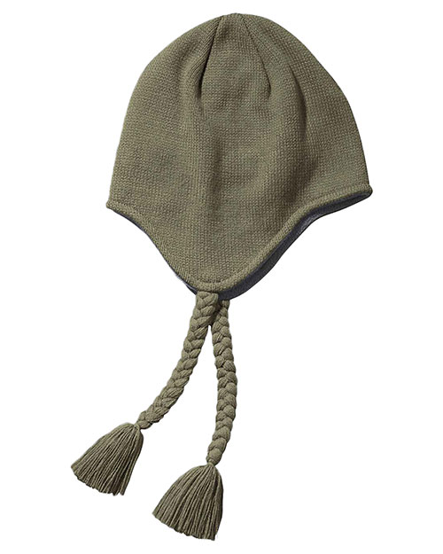 Big Accessories / BAGedge BX027 Women Knit Earflap Beanie Olive at GotApparel