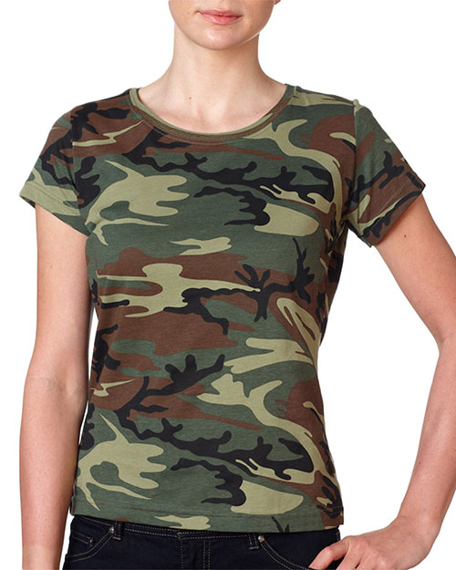 Code V 3665 Adult Cf Lady Jersey Camo Tee Green Woodland at GotApparel