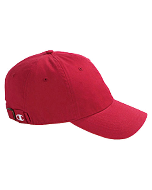 Champion C4001  Unisex Brushed Cotton 6Panel Cap Red at GotApparel