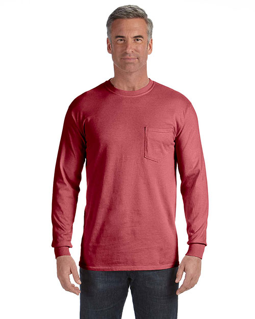 Comfort Colors C4410 Men 6.1 oz. LongSleeve Pocket T-Shirt Brick at GotApparel