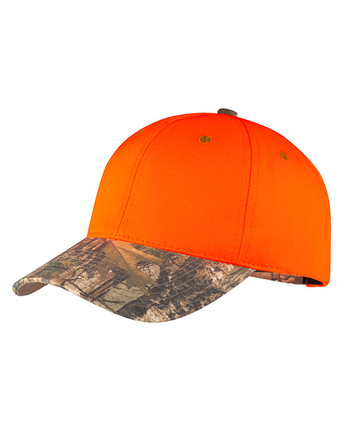 Port Authority C804  Unisex Safety Cap with Camo Brim Orange Blaze/ Realtree Xtra at GotApparel