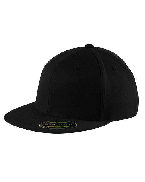 Port Authority C808  Unisex Flexfit   Flat Bill Cap Black at GotApparel