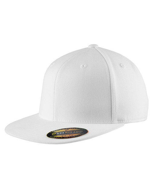 Port Authority C808      - Flexfit   Flat Bill Cap.  White at GotApparel