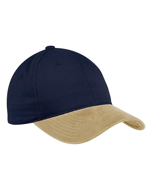 Port Authority C815 Men TwoTone Brushed Twill Cap Navy/Khaki at GotApparel