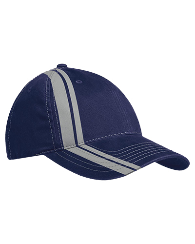 Port Authority C825 Men Double Stripe Cap Navy/Lt Grey at GotApparel