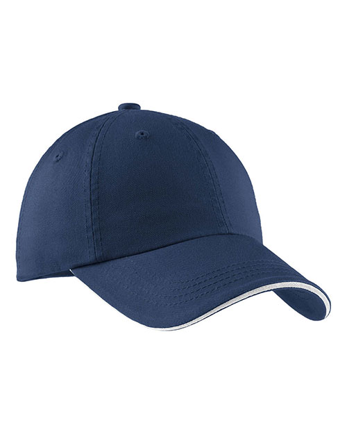 Port Authority C830 Men Sandwich Bill Cap with Striped Closure Ensignblue/Wht at GotApparel