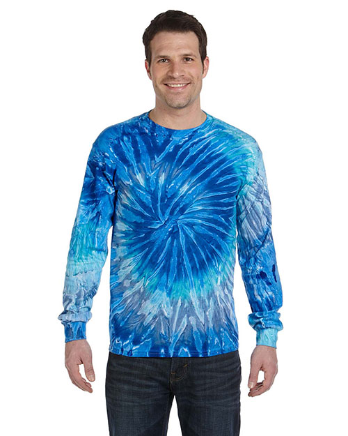 Tie-Dye CD2000 Men 5.4 oz., 100% Cotton Long Sleeve T-Shirt Blue Jerry at GotApparel