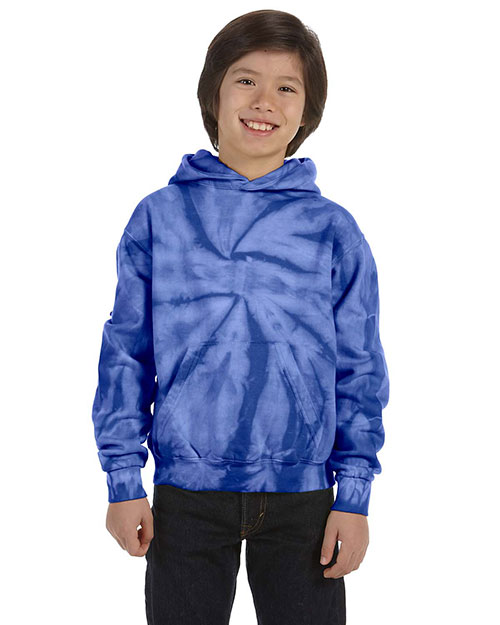 Tie-Dye CD877Y Boys 8.5 oz. d Pullover Hood Spider Royal at GotApparel