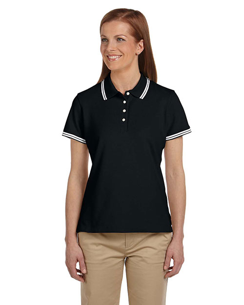 Chestnut Hill CH113W Women Tipped Performance Plus Pique Polo Black/White at GotApparel