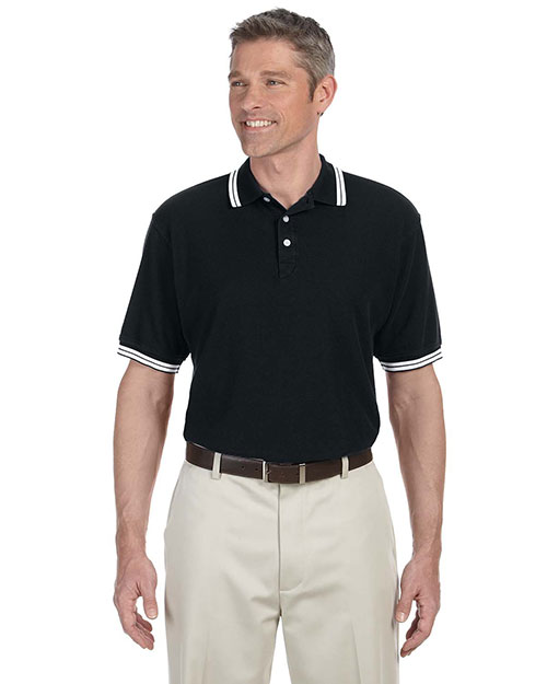 Chestnut Hill CH113 Men Tipped Performance Plus Pique Polo Black/White at GotApparel