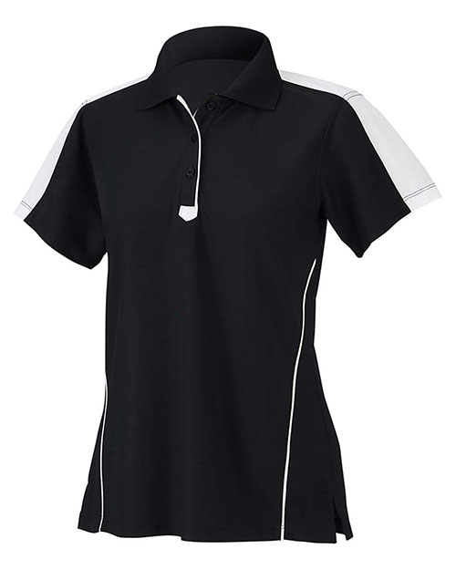 Chestnut Hill CH355W Women Piped Technical Performance Polo Black/White at GotApparel