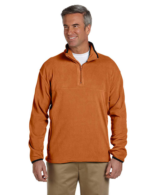 Chestnut Hill CH910 Men Microfleece QuarterZip Pullover Sienna at GotApparel