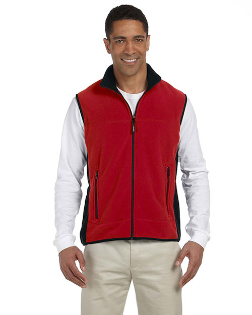 Chestnut Hill CH960  Polartec Colorblock Full-Zip Vest CHERRY/BLACK at GotApparel