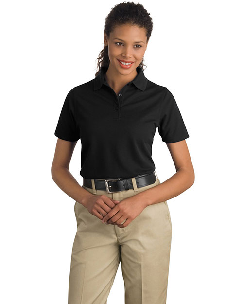 CornerStone CS403 Women Industrial Pique Polo Black at GotApparel
