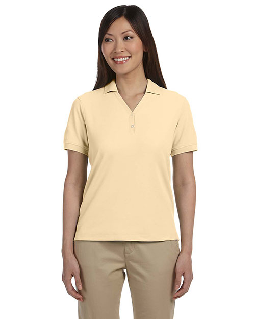 Devon & Jones Classic D100W Women Pima Pique ShortSleeve YCollar Polo Butter at GotApparel