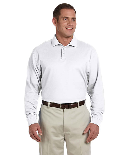 Devon & Jones Classic D110 Men Pima Pique LongSleeve Polo White at GotApparel