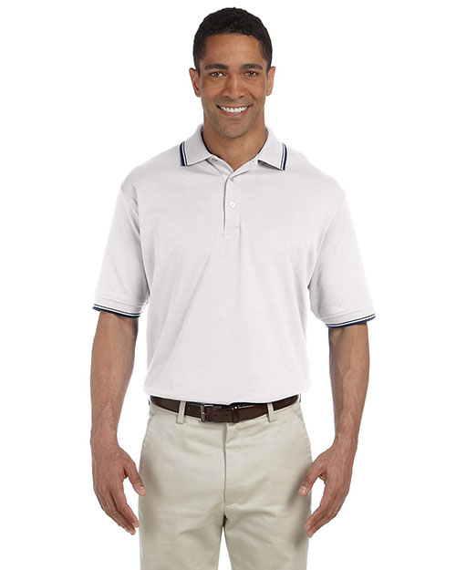 Devon & Jones Classic D140 Men Tipped Perfect Pima Interlock Polo White/Navy at GotApparel