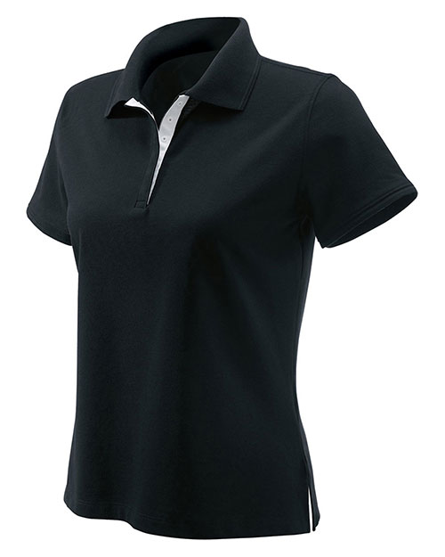 Devon & Jones Classic D150W Women's Tanguis Cotton Pique Polo Black at GotApparel
