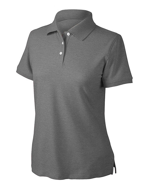 Devon & Jones Blue D153WGR Women Recycled Pima Melange Pique Polo Black Melange at GotApparel