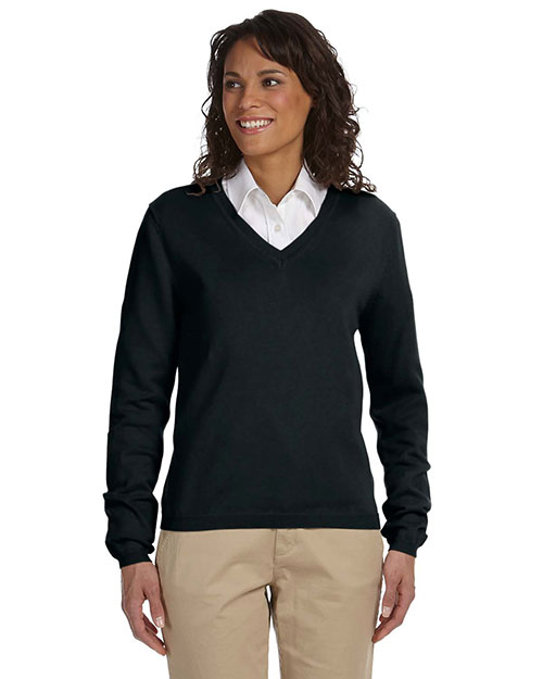 Devon & Jones Classic D475W  Womens V-Neck Sweater BLACK at GotApparel