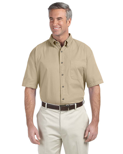 Devon & Jones Classic D500S Men Titan Short Sleeve Twill Khaki at GotApparel