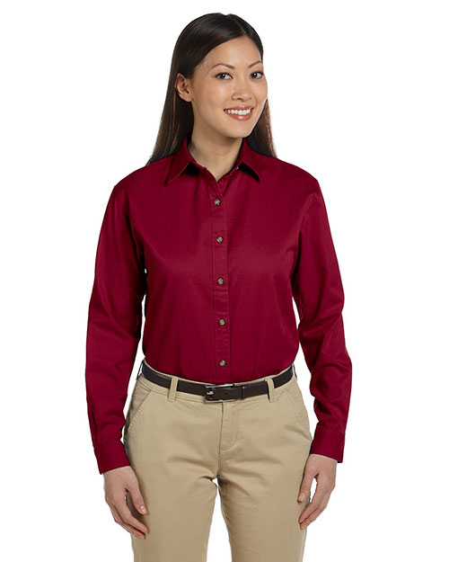 Devon & Jones Classic D500W Women Titan Long Sleeve Twill Crimson at GotApparel