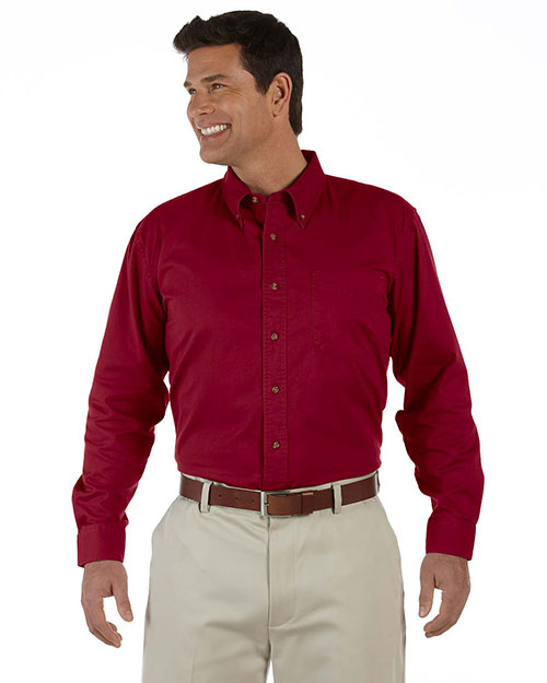 Devon & Jones Classic D500 Men Titan Long Sleeve Twill Crimson at GotApparel