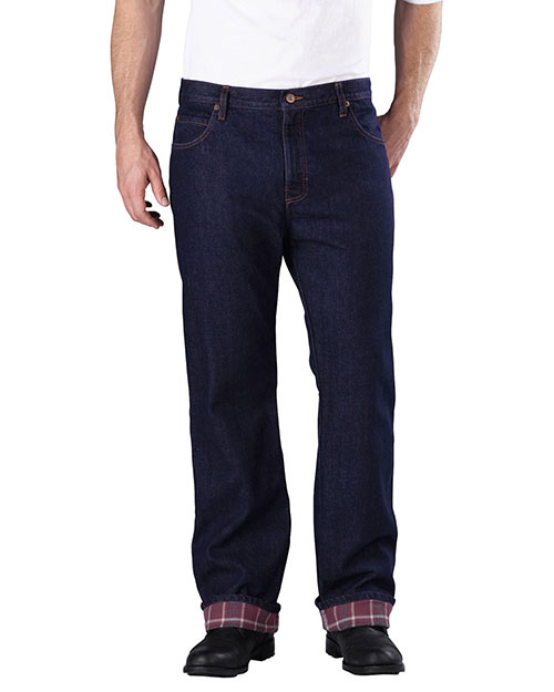 Dickies DD217 Men Relaxed Straight-Fit Flannel-Lined Denim Jean Pant at GotApparel