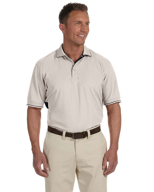 Devon & Jones Sport DG380 Men DriFast Advantage Pique Polo Putty/Black at GotApparel