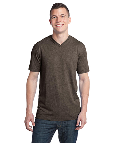 District DT142V Men  TriBlend VNeck Tee Chocolate Hthr at GotApparel