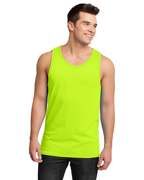 District DT1500 Men  Cotton Ringer Tank Neon Lime/Lime at GotApparel