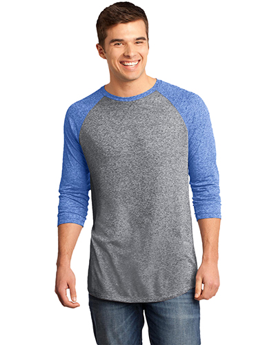 District DT162 Men  Microburn   3/4Sleeve Raglan Tee Dp Ryl/Hth Nkl at GotApparel