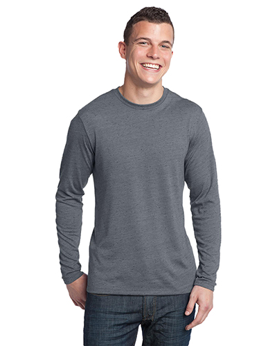 District DT171 Men  Textured Long Sleeve Tee Charcoal at GotApparel