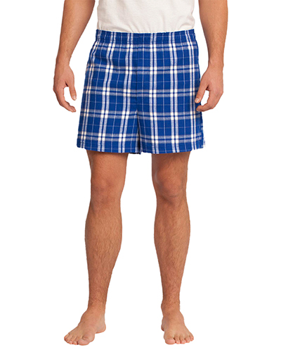 District DT1801 Men  Flannel Plaid Boxer Deep Royal at GotApparel