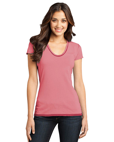 District DT2202 Women Faded Rounded Deep VNeck Tee Red at GotApparel