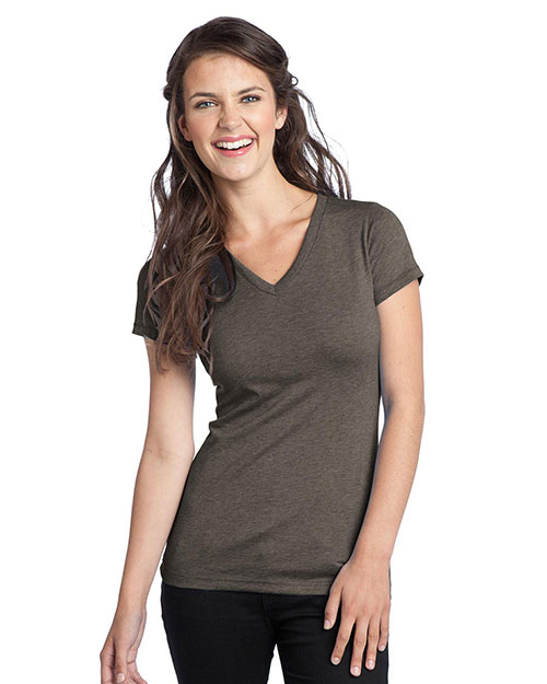 District DT242V Women TriBlend VNeck Tee Chocolate Heather at GotApparel