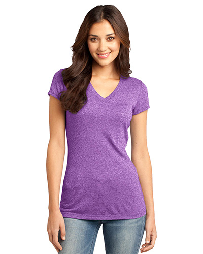 District DT261 Women Microburn   VNeck Tee Purple Orchid at GotApparel