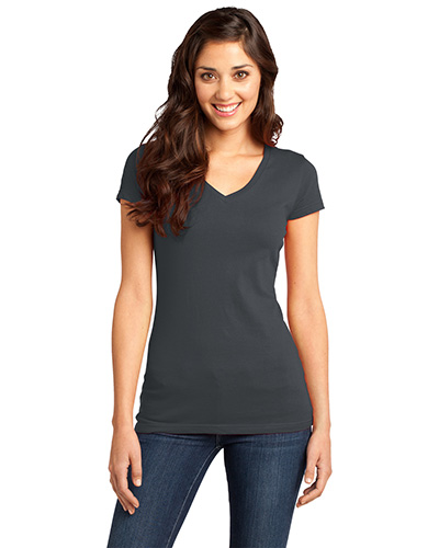 District DT6501 Women Very Important Tee   VNeck Charcoal at GotApparel