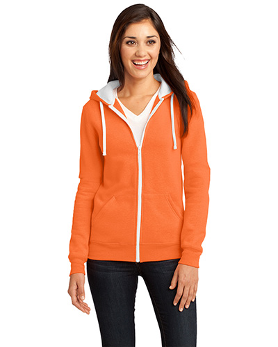 District DT801 Women The Concert Fleece™ FullZip Hoodie Neon Orange at GotApparel