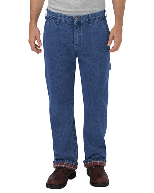 Dickies DU227 Men Relaxed Fit Straight-Leg Flannel-Lined Carpenter Denim Pant at GotApparel