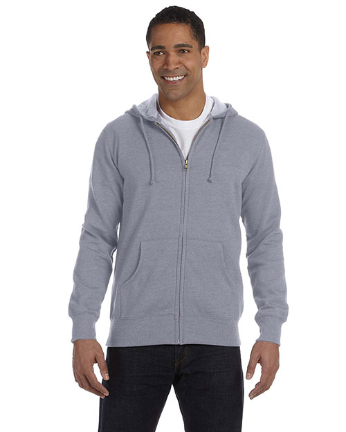Econscious EC5680 Men 7 oz. Organic/Recycled Heathered Full Zip Hood Athletic Grey at GotApparel