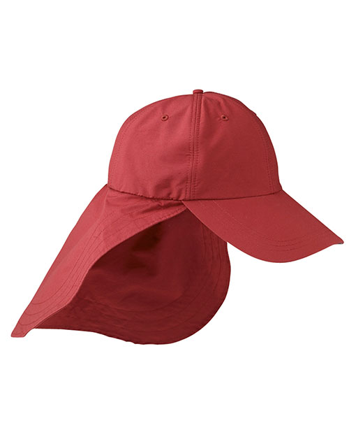 Adams EOM101 6-Panel UV Low-Profile Cap with Elongated Bill and Neck Cape Nautical Red at GotApparel
