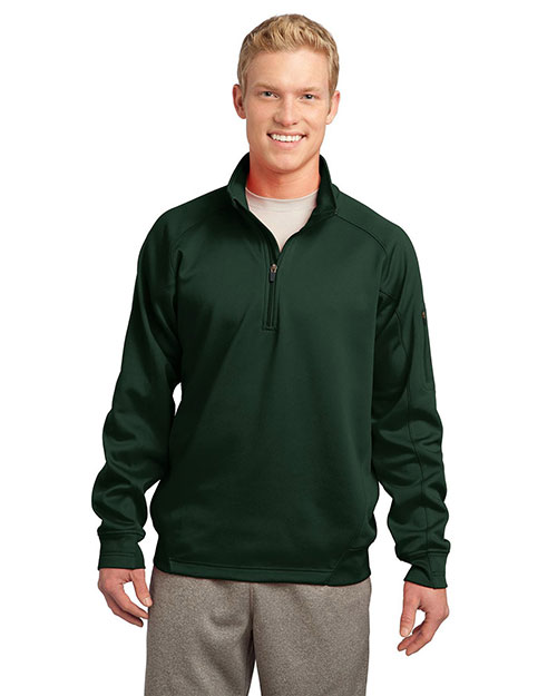 Sport-Tek TST247 Men Tall Tech Fleece 1/4Zip Pullover Forest Green at GotApparel