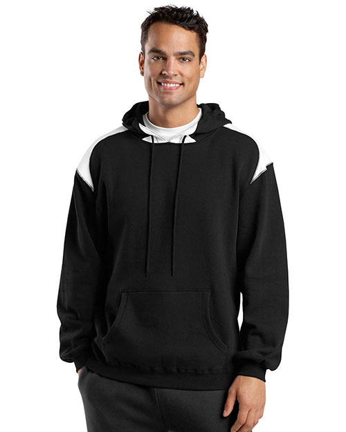 Sport-Tek F264 Men Pullover Hooded Sweatshirt with Contrast Color Black at GotApparel